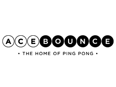 The logo of AceBounce, the ground-breaking social entertainment brand founded by Adam Breeden (All Star Lanes, Flight Club) & Dov Penzik (entrepreneur & former competitive table tennis player)