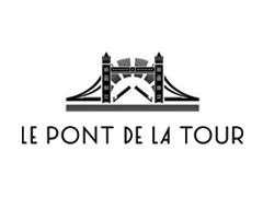 The logo of Le Pont de la Tour, restaurant named for its view of Tower Bridge