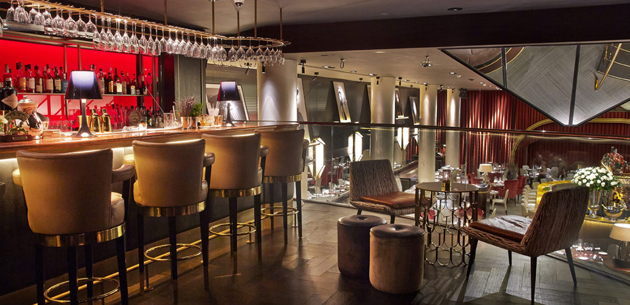 Mezzanine bar at Quaglino's London, by D&D Restaurants. Interiors designed by Russell Sage Studio Ltd.