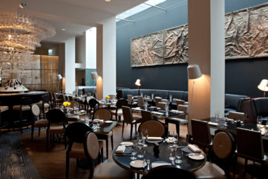 The dining room at Avenue, London. Interiors designed by Russell Sage Studio Ltd.