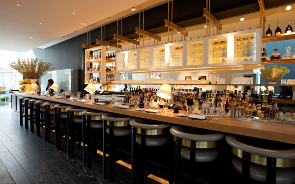 The bar at Avenue, from D&D Restaurants. Interiors designed by Russell Sage Studio Ltd.