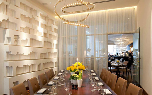 The private dining room at D&D London's restaurant, Avenue. Interiors designed by Russell Sage Studio.