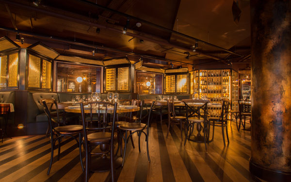 The dining room at The Botanist Broadgate, London. Interiors designed by Russell Sage Studio Ltd.