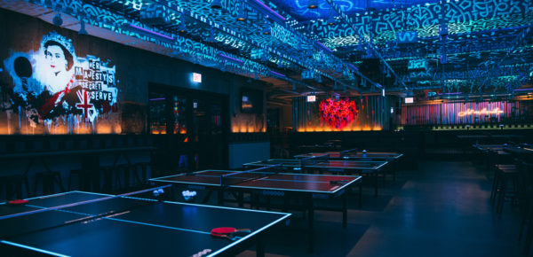 UV lighting and street art at Bounce Chicago, USA. Interiors designed by Russell Sage Studio Ltd.