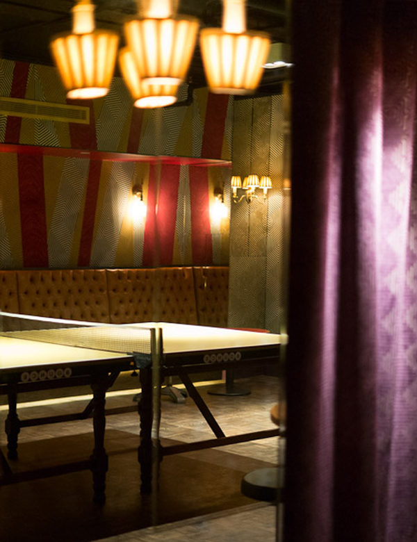 Private dining & ping pong at Bounce Farringdon, London. Interiors designed by Russell Sage Studio Ltd.