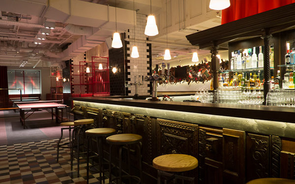 The bar at Bounce Farringdon, London. Interiors designed by Russell Sage Studio Ltd.