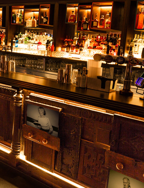 The bar at Bounce Shoreditch, London. Interiors designed by Russell Sage Studio Ltd.