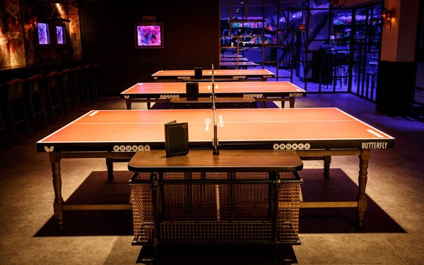 Ping pong tables at Bounce Shoreditch, London. Interiors designed by Russell Sage Studio Ltd.