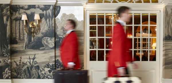 The reception at The Goring Hotel, London. Interiors designed by Russell Sage Studio Ltd.