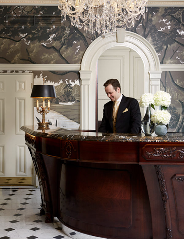 A welcome reception at The Goring Hotel London. Interiors designed by Russell Sage Studio Ltd.