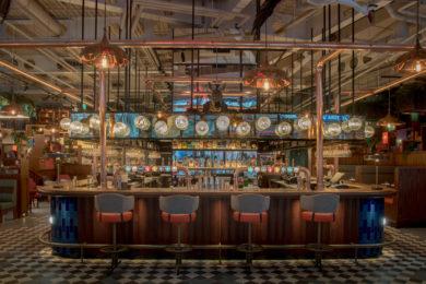 The bar at Greenwood, Nova, Victoria, London. Interiors designed by Russell Sage Studio Ltd.