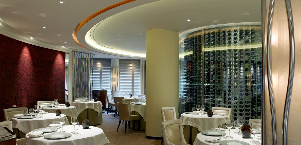 The dining room at Gordon Ramsay's Petrus, London. Interiors designed by Russell Sage Studio Ltd.
