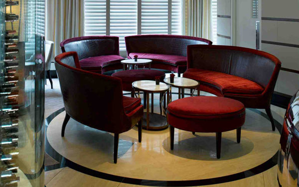 Velvet sofas at Petrus, London. Interiors designed by Russell Sage Studio Ltd.