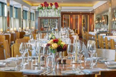 The dining room at Pont de la Tour, London. Interiors designed by Russell Sage Studio Ltd.