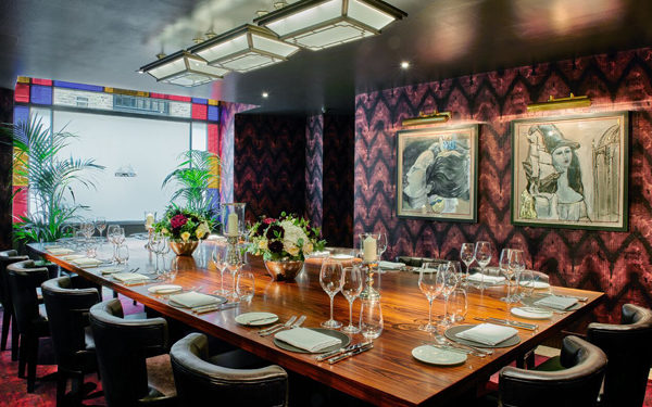 Private dining at Pont de la Tour, London. Interiors designed by Russell Sage Studio Ltd.
