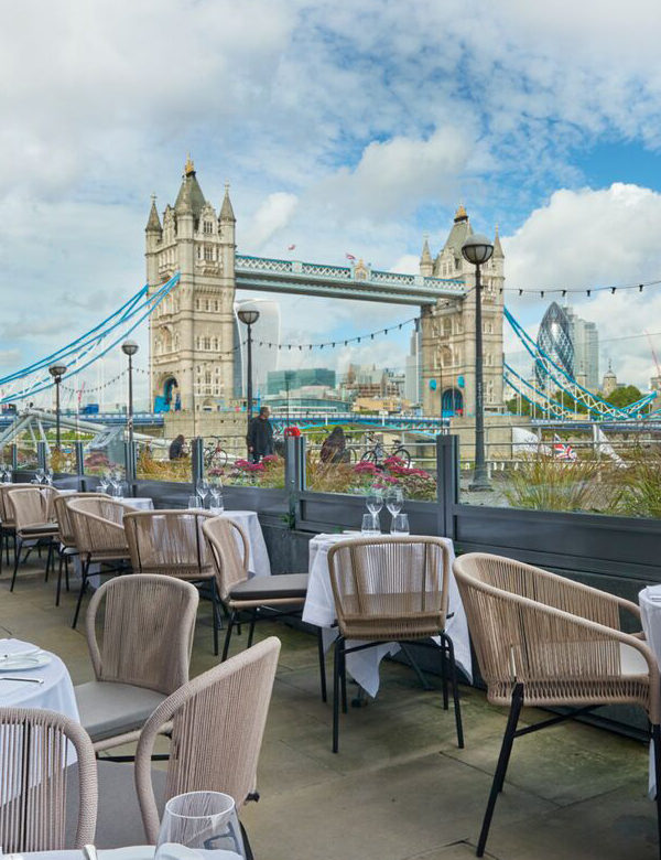The terrace at Pont de la Tour, London. Interiors designed by Russell Sage Studio Ltd.