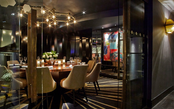 Private dining at Quaglinos, London. Interiors designed by Russell Sage Studio Ltd.